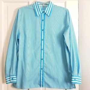 Foxcroft Wrinkle Free Button Front Blouse Striped
